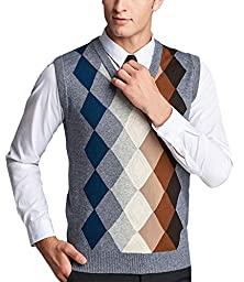 Nidicus Men Slim Basic Wool Blend Pullover V-neck Argyle Sweater Vest Gray XS