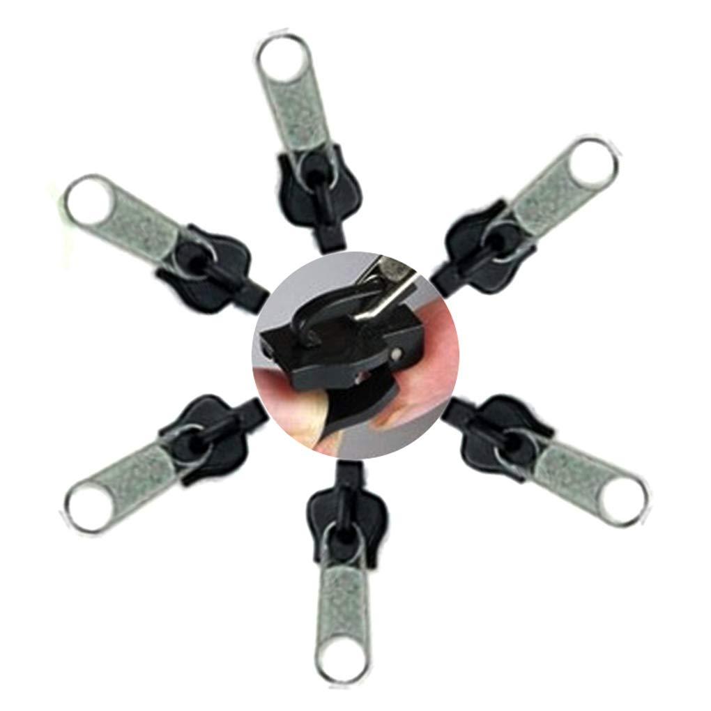 Timlatte 6pcs Universal instantan/ée Fix Repair Kit Zipper Sac /à Dos V/êtements de Rechange Zips Dents Curseur Zip Argent 1.3 3.6 1.1cm