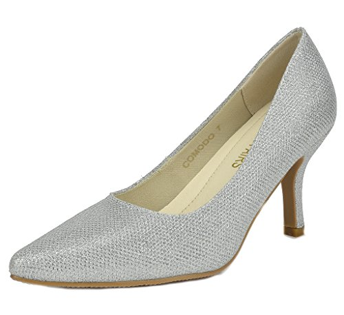 DREAM PAIRS Womens Comodo Low Heel Stiletto Pump Shoes Silver WoASZH7Rd