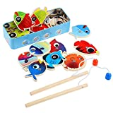 Magnetic Fishing Game for Kids with 14 Fishes and 2 Poles, Basic Educational Development Wooden Fishing Toys Set for Kids Age 3 4 5, Safe Portable Lightweight Fishing Playset for Birthday Present