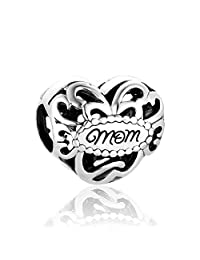 Lovans 925 Sterling Silver Love Heart Charm Fit Pandora Bracelets