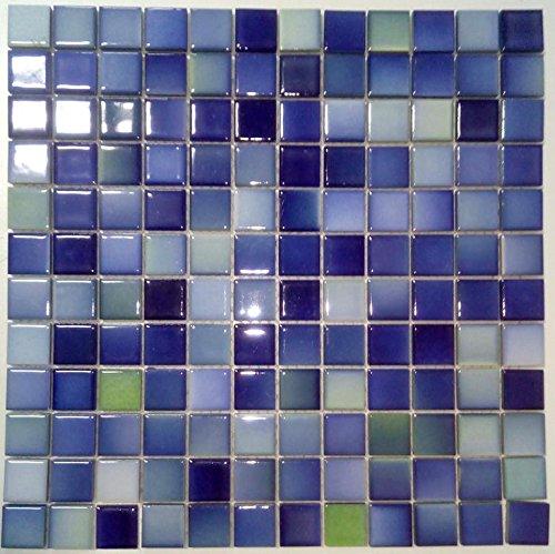 Art Keramikmosaik Fliesen blau melange matt glasiert Wand Boden Dusche WC K/üche 10 Matten es-41121/_f
