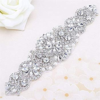 """FANGZHIDI Beaded Applique with Rhinestones and Pearls for Wedding Sash or  Head 3 Colors-1 Piece(6.1""""2""""in) fd7a39bcd19c"""