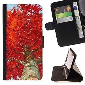 Momo Phone Case / Flip Funda de Cuero Case Cover - Árbol de abedul rojo Hojas Naturaleza - LG G2 D800