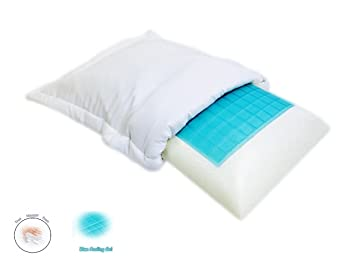 queen blue cooling gel solid memory foam comfort bed pillow with white soft cover case plus