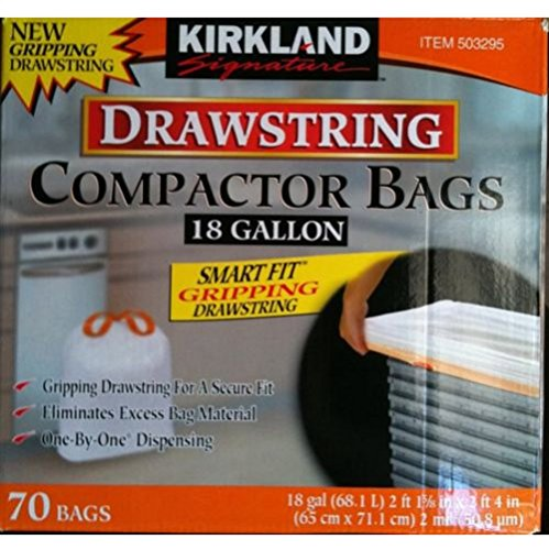 Kirkland Compactor Bags Smart Fit Gripping Drawstring Trash Bags , 18 Gallon,70 ct