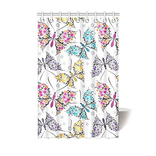Shower Curtain Butterflies Pattern Polyester Fabric Print Ba