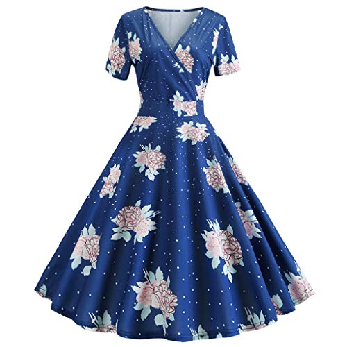 Big Sale,YetouWomens Dresses 1950s Vintage Cap Sleeve Polka Dot Rockabilly Cocktail Swing Dresses Blue