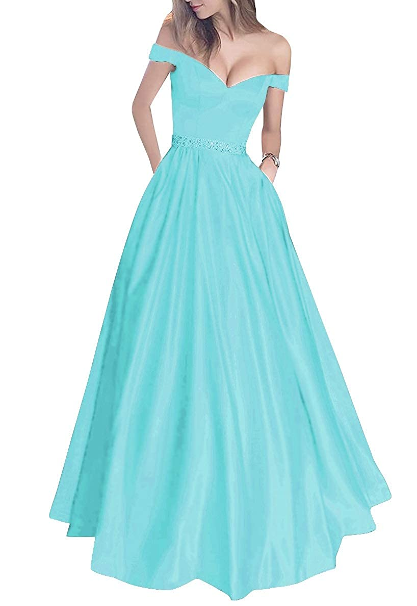 Ice bluee MorySong Women's Off Shoulder Long Prom Dress with Pockets Beading Evening Gown