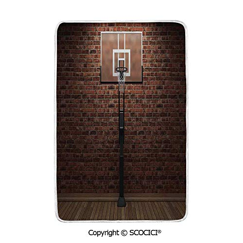 SCOCICI Ultra Comfortable,Cozy and Warm Carpet Blanket Old Brick Wall and Basketball Hoop Rim Indoor Training Exercising Stadium Picture Print No Colour Fading Rug One Side Printed