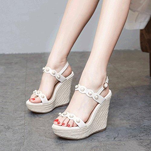 c1b37d52 Venta caliente 2018 SANDALIAS Zapatos de tacón con plataforma abierta de  verano dulce cuña Zapatos de
