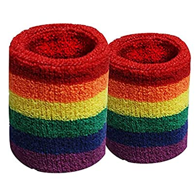 Pair Rainbow Wristbands Colorful Sweat-Absorbent Sports Six-Color Towel Wristbands Basketball Badminton Guards Wrist Estimated Price £8.29 -