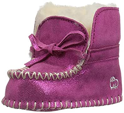 Lamo Girls' Baby Moc Moccasin, Pink Glitter, L M US Infant