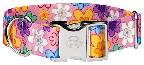 Premium Patterned Dog Collars - Country Brook Petz 1 1/2 Inch Premium May Flowers Dog Collar - Large
