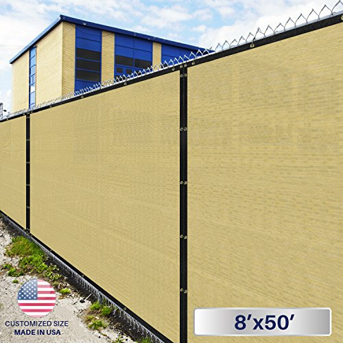 Windscreen4less Heavy Duty Privacy Screen Fence in Color Tan with White Strips 8' x 50' Brass Grommets w/3-Year Warranty 140 GSM (Customized Sizes Available) by Windscreen4less
