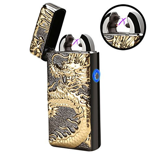 (Moonwbak Electronic Pulse Double Arc Lighter USB Rechargeable Flameless Windproof Candle Cigarette Lighter Belief Chinese Dragon Loong Lighter with Gift Box (Black))