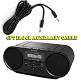 ZSRS60BT CD Boombox Sony Radio AM/FM Radio BoomBox With Bluetooth and NFC (Black)Works With Batteries + I-Kool 6 Foot Aux Cable To Connect All Your Music On The Go