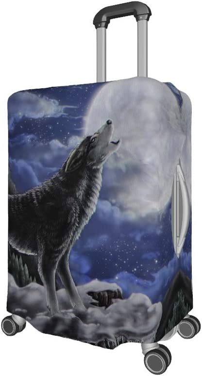 25-28 inch Luggage Cover Mountain Wolf Moon Fantasy Starry Sky Luggage Case Elastic Suitcase Cover Durable Suitcases Protector white l