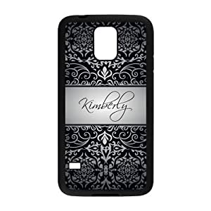 Personalized Black Vintage European Pattern Vs LightGrey Initials Unique Custom Samsung Galaxy S5 Best Durable Rubber+Plastic Cover Case Custom Color and Text,New Fashion, Best Gift