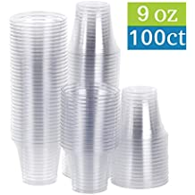 TashiBox - 9 oz Clear Plastic Party Cups / Tumblers - 100 Count