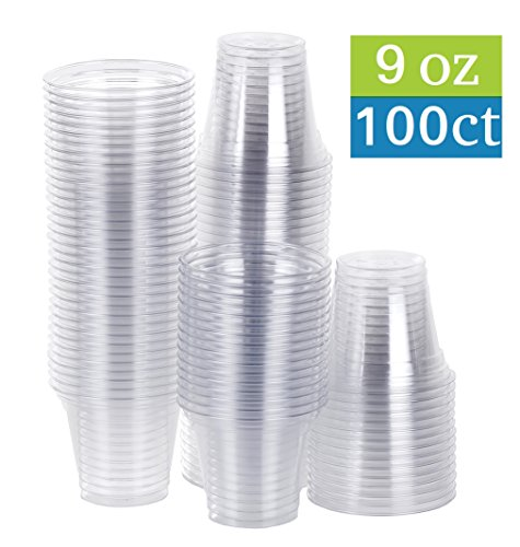 TashiBox Disposable Plastic Party Cups, Tumblers, 100 Count, 9 oz, Crystal (Clear Plastic Cold Cups)