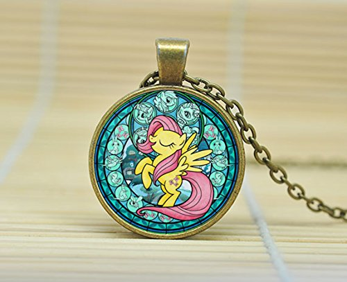 SunShine Day Fluttershy My Little Pony Friendship Is Magic Necklace Glass Cabochon Necklace A3190