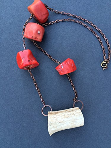 Antler necklace with antique coral beads