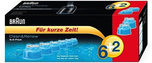 Braun Clean & Renew – Cartucho de limpieza 6 + 2 (Pack de 8 ...