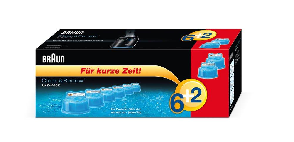 Braun Clean & Renew–Cartucho de limpieza 6+ 2(Pack de 8) (edición limitada) Procter & Gamble GmbH CCR 6+2 Vorteilspack B003YCG92Y