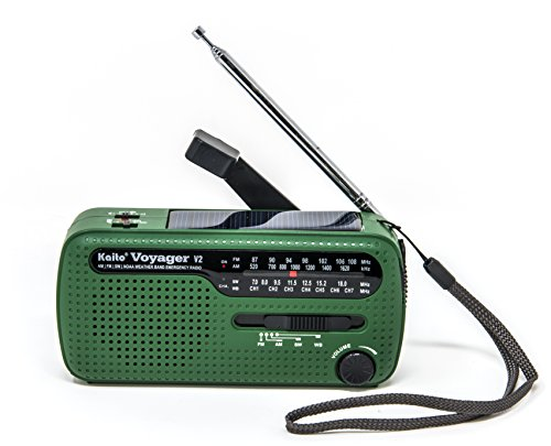 Kaito Voyager V2 Portable Solar / Hand Crank AM/FM, Shortwave & NOAA Weather Emergency Radio with USB Cell Phone Charger & LED Flashlight (Green) (Kaito Radio Antenna)