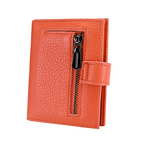 Reeple Women's RFID Blocking Small Compact Bifold Leather Pocket Wallet with ID Window(Orange) by Reeple (Image #3)