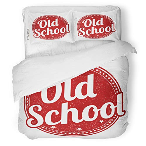 SanChic Duvet Cover Set Classic Old School Rubber Stamp on Advertisment Button Decorative Bedding Set with 2 Pillow Cases Full/Queen Size