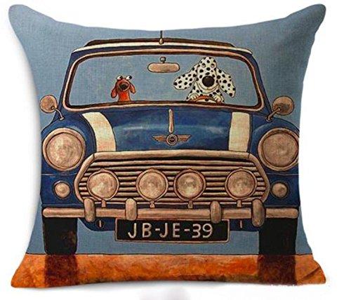 Petite Lili Cushion Cover with Dog driver Design, Decorative Pillowcase -Bed/Kids/sofa 18 x 18 inch, (BLUE MINI COOPER)