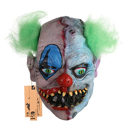 2pcs/set Scary Halloween Latex Mask Clown,Creepy Cosplay Bloody Zomie Ghost Mask With Hair for Adults,Halloween Costume Party Props Masks -