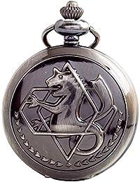Vintage Copper Fullmetal Alchemist Pocket Watch Quartz Fob Edward Elric's Anime Cosplay Gift with Chain & Box