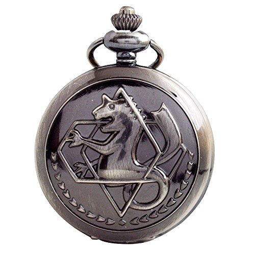 BOSHIYA Vintage Copper Fullmetal Alchemist Pocket Watch Quartz Fob Edward Elric's Anime Cosplay Gift with Chain & Box
