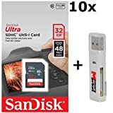 10 PACK - SanDisk Ultra 32GB Class 10 SDHC UHS-1 Memory Card up to 48MB/s - SDSDUNB-032G LOT OF 10 with USB 2.0 MemoryMarket dual slot MicroSD & SD Memory Card Reader