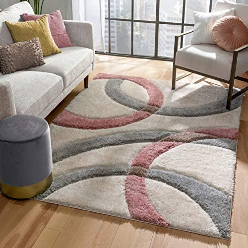 Well Woven Olly Blush Grey Geometric Stripes Thick Soft Plush 3D Textured Shag Area Rug 8×10 7'10″ x 9'10″