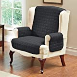 Quilted Microfiber Pet Dog Couch Sofa Furniture Protector Cover, Kashi, 5 Colors, 3 Sizes (Chair, Black)