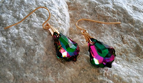 Rainbow Crystal Swarovski Crystal Electra Baroque Multi Colored Dangle Drop Crystal Earrings Gold Plated Steel Twilight Crystals