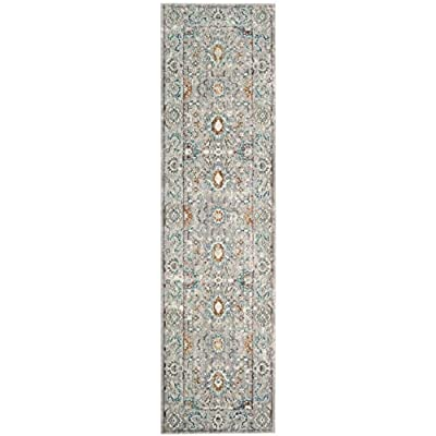 """Safavieh Mystique Collection MYS924R Vintage Watercolor Grey and Multi Distressed Runner (2'3"""" x 8') - The power loomed construction add durability to this rug, ensuring it will be a favorite for a long time This rug is crafted of polyester The modern style of this rug will give your room a contemporary accent - runner-rugs, entryway-furniture-decor, entryway-laundry-room - 51NkywTCAkL. SS400  -"""