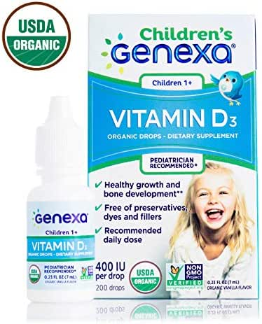Genexa Vitamin D3 Drops for Children | Certified Organic and Non-GMO, Kosher, Pediatrician Recommended | Promotes Healthy Growth and Bone Development | 200 Servings
