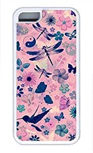 Brian114 iPhone 5C Case - Dragonfly And Flower Soft Rubber White iPhone 5C Cover, iPhone 5C Cases, Cute iPhone 5c Case