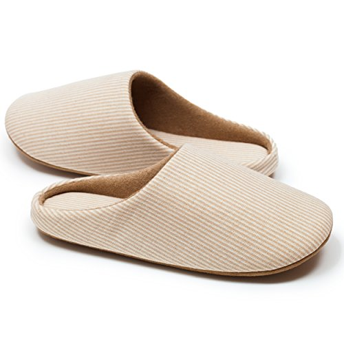 Relaxed Foot Slippers   Organic Cotton & Memory Foam   1 Pair with Storage Bag (X-Large, Beige)