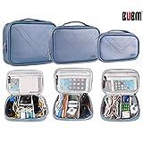 BUBM Multi-Functional 3pcs/set (S/M/L in One) Waterproof Travel Cord Electronic Organizer Case Cosmetic Make up Handbag (Blue)