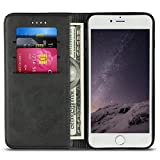 """Case for iPhone 6/6S Plus, Wallet Phone Case Protective Flip Leather Cover Card Slot Holder with Kickstand for Apple iPhone 6/6S Plus 5.5"""" (Black)"""