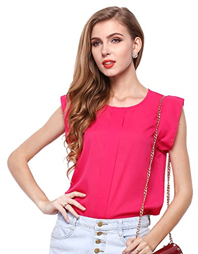 Zhaoyun Women's Casual Loose Short Sleeve Chiffon Top T-shirt Blouse Rose Red-L