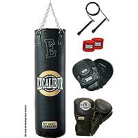 Excalibur Boxset CLASSIC PRO mit Boxsack, 14 Unzen Boxhandschuhen, Trainerpratzen,Wickelbandagen und Springseil