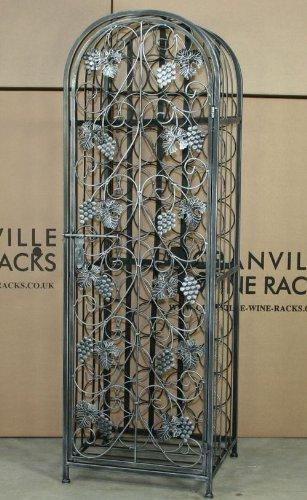 45 Bottle Wrought Iron Effect Wine Rack With Door Antique Silver