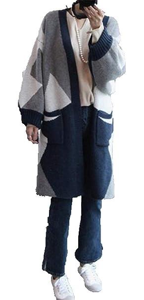 Lanceyy Abrigo Mujer Otoño Cómodo Largos Cardigan Estampadas Patrón Manga Larga Bolsillos Delanteros Sencillos Elástica Chaqueta